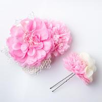 HA-0156 成人式 卒業式 お花 髪飾り 和風オリジナル髪飾り ピンク レース マム花 ダブルデザイン 日本製