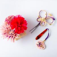 HA-0450 成人式 卒業式 お花 髪飾り 和風オリジナル髪飾り 紫 ピンク ダブルデザイン 水引細工 帯飾り 日本製