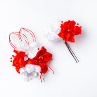 HA-0084 成人式 卒業式 お花 髪飾り 和風オリジナル髪飾り 赤 白 水引飾り ダブルデザイン 日本製