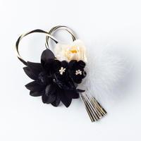 HA-0228 成人式 卒業式 お花 髪飾り 和風オリジナル髪飾り 黒 ブラック 白 水引細工 日本製