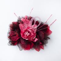 HA-0086 成人式 卒業式 お花 髪飾り 和風オリジナル髪飾り ピンク ワインレッド 黒 日本製