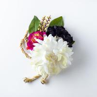 HA-0236 成人式 卒業式 お花 髪飾り 和風オリジナル髪飾り 白 黒 紫 金の組み紐 日本製