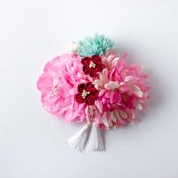 HA-0227 成人式 卒業式 お花 髪飾り 和風オリジナル髪飾り ピンク 水色 赤 垂れ飾り 日本製