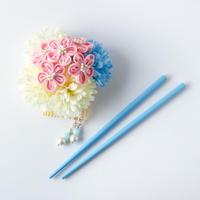 HA-0329 成人式 卒業式 お花 髪飾り 和風オリジナル髪飾り 水色 ピンク ベージュ お箸かんざし 日本製
