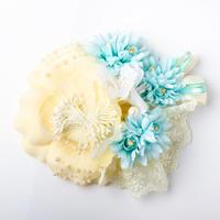 HA-0168 成人式 卒業式 お花 髪飾り 和風オリジナル髪飾り 白ベージュ 水色 レース 日本製