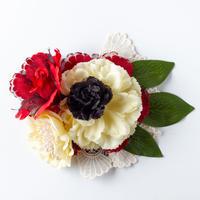 HA-0237 成人式 卒業式 お花 髪飾り 和風オリジナル髪飾り 赤 ベージュ 布レース 葉 ゴージャス 日本製
