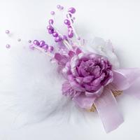 HA-0076 成人式 卒業式 お花 髪飾り 和風オリジナル髪飾り 紫 パープル 白ファー 日本製