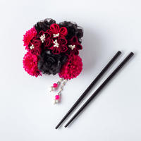 HA-0355 成人式 卒業式 お花 髪飾り 和風オリジナル髪飾り 赤 ワインレッド お箸かんざし つまみ細工 日本製