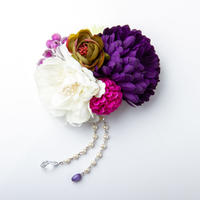 HA-0224 成人式 卒業式 お花 髪飾り 和風オリジナル髪飾り 白 紫 パープル 垂れ飾り 日本製