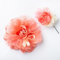 HA-0155 成人式 卒業式 お花 髪飾り 和風オリジナル髪飾り ピンク モスピンク インパクト プチフラワー 日本製