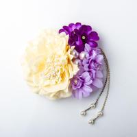 HA-0204 成人式 卒業式 お花 髪飾り 和風オリジナル髪飾り 白 ベージュ 紫 パープル 垂れ飾り 日本製