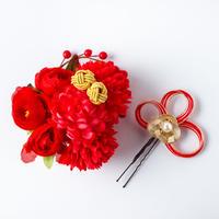 HA-0351 成人式 卒業式 お花 髪飾り 和風オリジナル髪飾り 赤 水引細工 ダブルデザイン 日本製