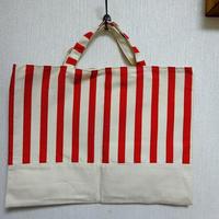 絵本袋  (赤ボーダー)