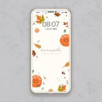 【シンプルデザイン】もみじの葉っぱが色づく秋にぴったり スマホ壁紙 @hanapla