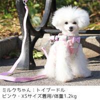 iDog 超小型犬用 コンフォートハーネス リード付き リボンとチェック