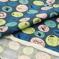 ムーミン 綿麻キャンバス 110㎝幅×10㎝単位 紺