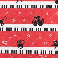 お気に入りシリーズ キルト ネコとピアノ MOWF-83Q【10cmあたり】