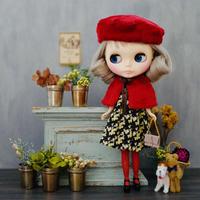 DIY フェイクファーケープ + Aラインワンピース(ジニア) + フェイクファーベレー帽 + ソックス( 小花柄) キット