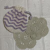 編み編み巾着袋 お花のモチーフ付き