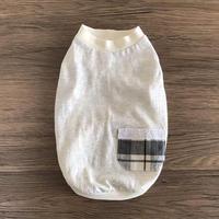 S・ワンコ服・タンク・黒白チェックポケット(Sサイズ)