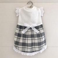 MS・ワンコ服・白黒チェックワンピ(MSサイズ)