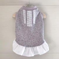 S・ワンコ服・紫小花柄ワンピ・裾フリル(Sサイズ)