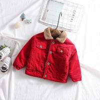 unisex corduroyboa jacket red
