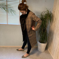 即納reversibleglen check×quilting coat