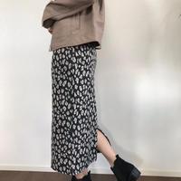 即納leopard slit long skirt