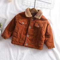 unisex corduroy boa jacket brown