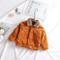 unisex corduroy boa jacket orange