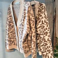 即納leopard cardigan