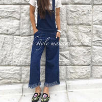 裾fringe denim salopette