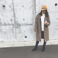 即納reversible glen check coat brown