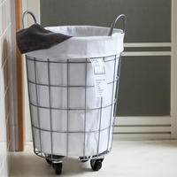 WIRE ARTS & PRO.laundry ROUND BASKET WITH CASTER_33L