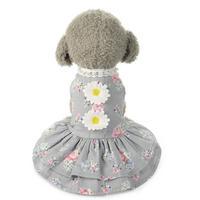 【犬服】グレーのドレスに可愛いお花