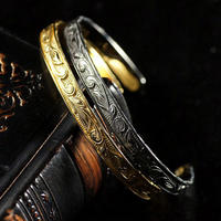 ハワイアンジュエリー  スリム バングル メンズ ブレスレット 24金コーティング ゴールド