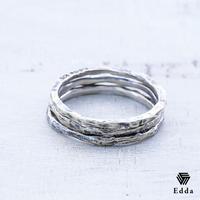 EDDA エッダ 3連リング 指輪 シルバー925 アンティーク加工 メンズ