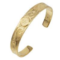 ハワイアンジュエリー  コイン バングル メンズ ブレスレット 24金コーティング ゴールド