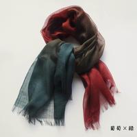 ぼかし染シルクウール・ガーゼ S 葡萄×緑(えび・みどり)