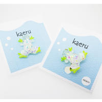 kaeruピアス/イヤリング(片耳) 透明 ホログラム  黄緑