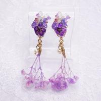 お花の心臓イヤリング 紫 ペア