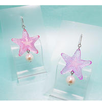 starfish ピアス透明 ピンク(イヤリング交換可能)(片耳)