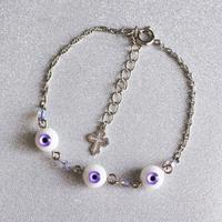 small eyeブレスレット 3目玉 薄紫