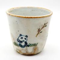 パンダ柄湯呑み・陶器の花川焼