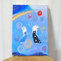 「夢風船・大空へ」油絵