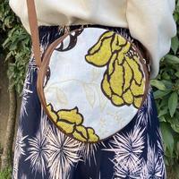 ビーズ刺繍ラウンドポーチ(フラワーイエロー)