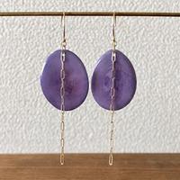 タグアとチェーンの耳飾り purple