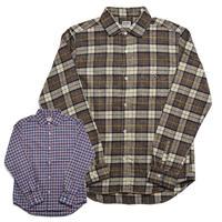 BARNS メランジチェック L/SL シャツ