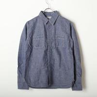 【残りBLUE/Lサイズ1点】コットン/リネン シャンブレーワークシャツ